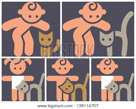 Kids activities color icons set - contact zoo