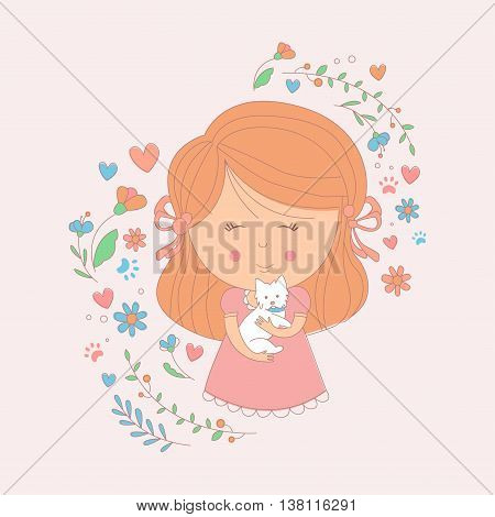 Girl Holding A Small White Dog Surrounded By Hearts And Flowers Childish Sweet Cartoon Simple Style Vector Illustration For The Card On White Background