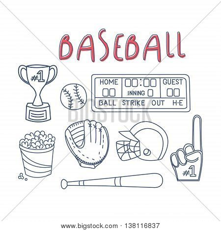 Baseball Related Object And Equipment Set With Text Hand Drawn Simple Vector Illustration Is Sketch Style