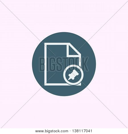 File Pin Icon In Vector Format. Premium Quality File Pin Symbol. Web Graphic File Pin Sign On Blue C