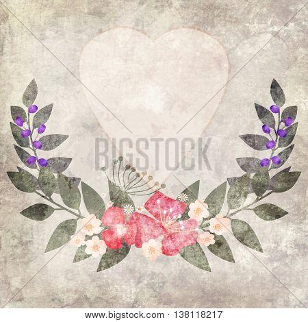 Elegant colorful grunge flower invitation postcard floral design