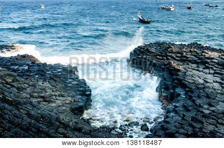 PHU YEN, VIET NAM, May 22, 2016 rock, named, rock disc, waters Phu Yen, Vietnam