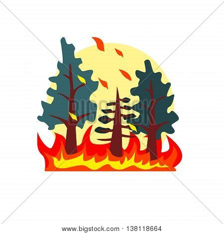 Blazing Forest Natural Force Flat Vector Simplified Style Graphic Design Icon Isolated On White Background