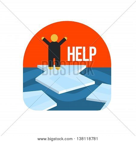 Man On Ice Floe Crying For Help Flat Vector Simplified Style Graphic Design Icon Isolated On White Background