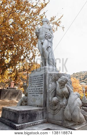 Wellington, New Zealand - March 2, 2016: Grave Of Henry Edmund Holland (harry Holland) With Statues