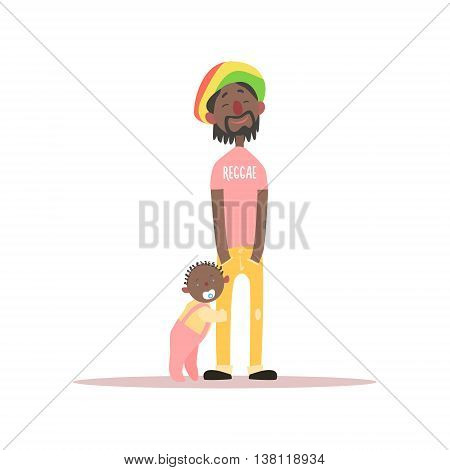 Jamaican Father And Baby Simple Childish Flat Colorful Illustration On White Background