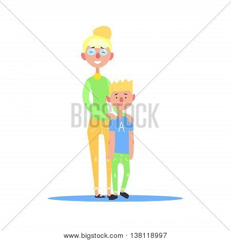 Mother And Teenage Son Blond Couple Simple Childish Flat Colorful Illustration On White Background