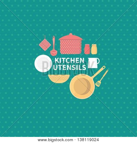 Vector set of kitchen utensils for cooking. Kitchen tools. Vector collection elements for the kitchen. Background for cards, invites, web pages, banners, covers. Illustration in flat style.