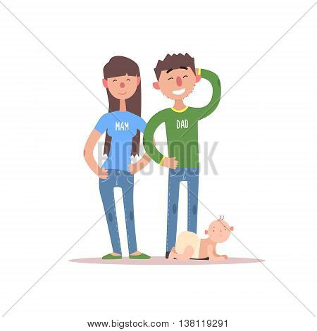 Young Parents And Their Baby Simple Childish Flat Colorful Illustration On White Background