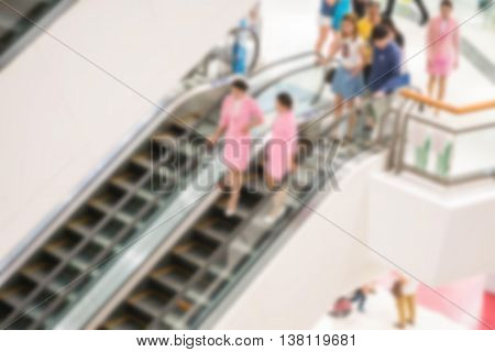 Motion blur of escalator in department store