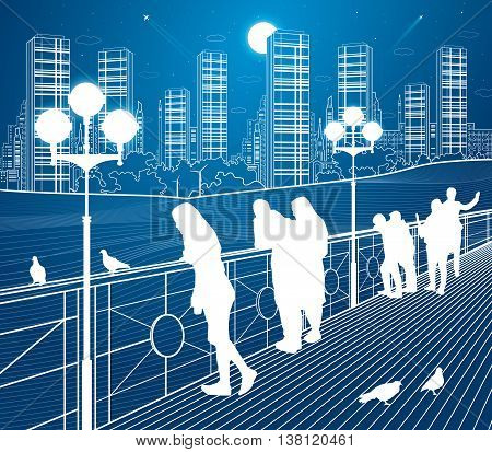 City scene, people watching from the bridge to the city's skyline, street life, night town in background, vector design art