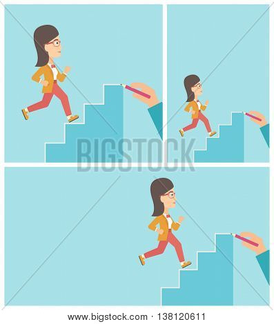 Young business woman running up the stairs drawn by hand with pencile. Concept of business career. Vector flat design illustration. Square, horizontal, vertical layouts.