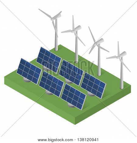 Wind turbine power. Isometric clean energy concept. Wind power. Blue Solar panels. Flat isometric. Modern alternative energy. Ecological energy.