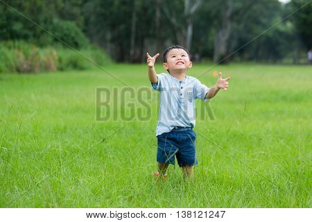 Little boy looking up the sky