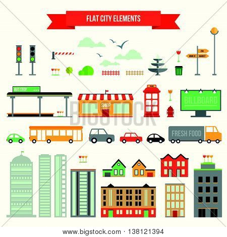 Great set with city elements for creating your own map. Map elements for your pattern, infographic, web site or other type of design.