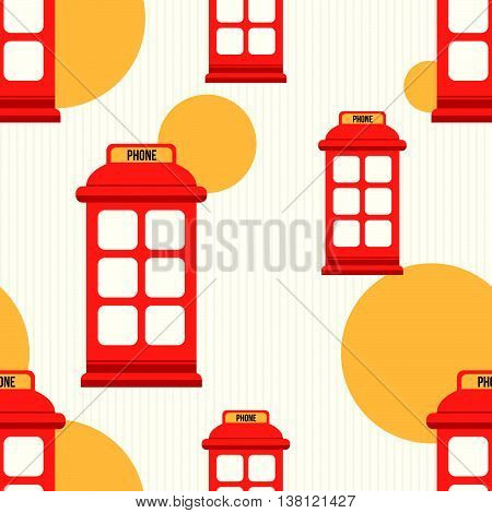 Hipster style seamless pattern with red phone booth. Flat illustration