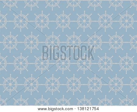 Nautical wheel pattern on blue background. Vector Marine theme