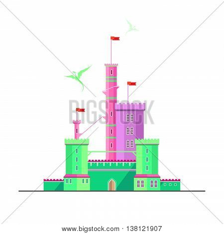 Fantasy castle of dragonlord. Flat style illustration. Can be used in books, game background, web design, etc.
