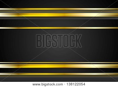 Minimal tech golden abstract elegant background. Gold metal stripes on black backdrop. Hi-tech orange black illustration