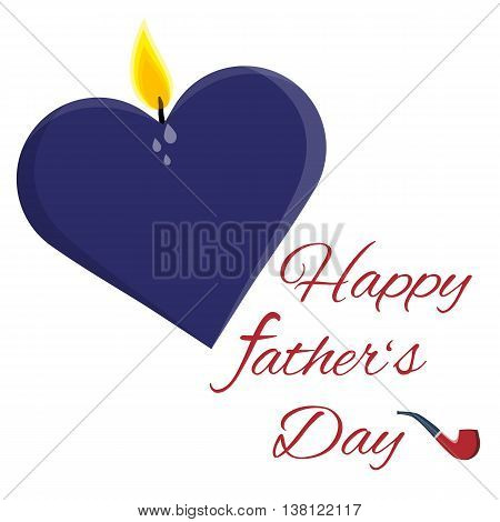 Fully vector Happy father's day card with candle heart