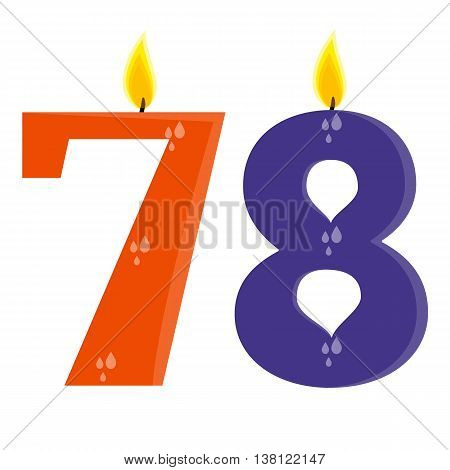 Fully vector set of stylized birthday candles (78) orange and violet