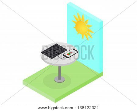 Black Solar panel. Flat isometric. Modern alternative energy. The phone is charging from the solar panel. Ecological energy. Isometric Sunny landscape. Vector illustration.