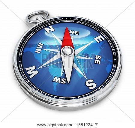 Blue compass only on white background (done in 3d rendering)