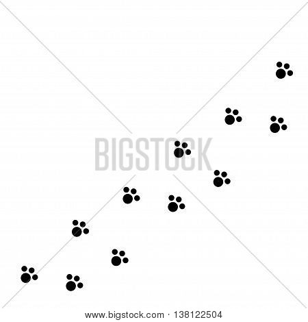 Dog cat paw print track diagonal. Black footprint set. White background. Isolated. Flat design. Vector illustration