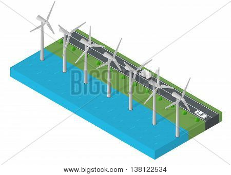 Windl turbine power. Isometric clean energy concept. Wind power Vector illustration.
