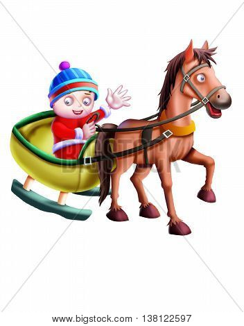 Horse Cart with child isolated on white Background