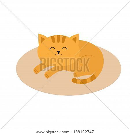 Cute orange cat lying sleeping on oval carpet rug mat. Moustache whisker. Funny cartoon character. White background. Isolated. Flat design. Vector illustration