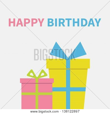 Two Gift boxes set with ribbon and bow. Present giftbox. Happy Birthday greeting card. White background. Isolated. Flat design. Vector illustration