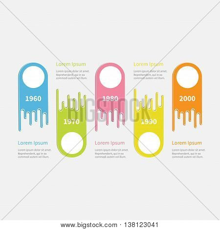 Five step Timeline Infographic. Colorful up down comet shape with circle. Template. Flat design. White background. Vector illustration
