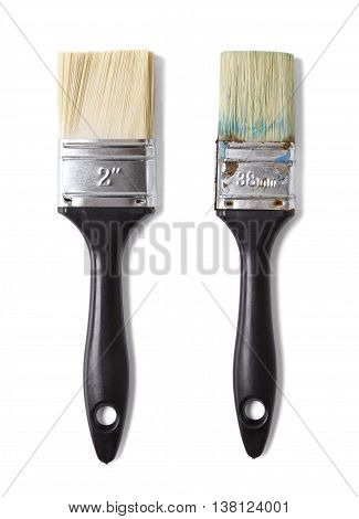 Assorted decorators paint brushes isolated on a white background