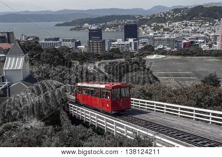 Wellington New Zealand - March 2 2016: The Wellington Cable Car a funicular railway in Wellington New Zealand with colour splash effect