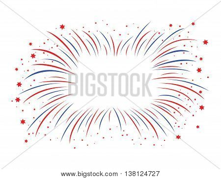 a red and blue firework with stars