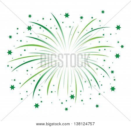 a green abstract firework background with stars