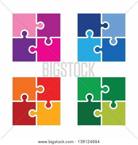 z set of colourful jigsaw pieces background