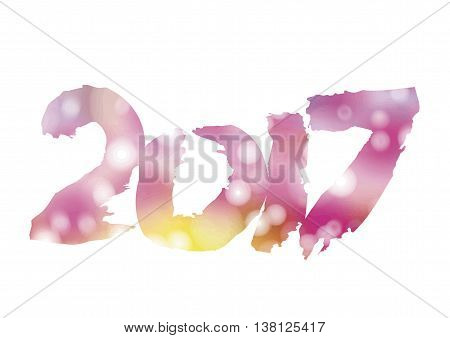New 2017 - year of Fire Rooster in Chinese calendar. Numbers 2017 in individual creative performance with color blurred background. Vector infinitely scalable layout