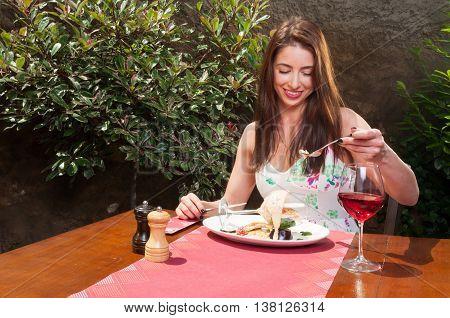 Pretty Lady Having Fancy Lunch On Terrace