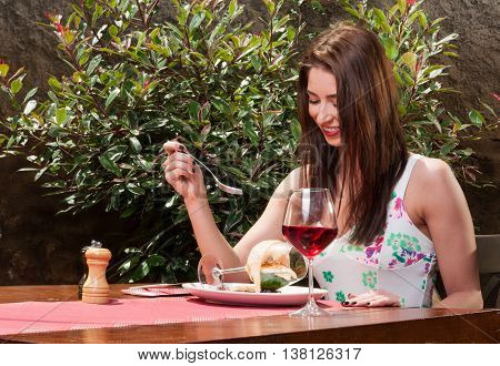 Young Lady Having Fancy Lunch On Terrace