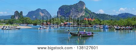 Krabi,thailand,jan 12,2015:traditional Thai Longtail Boat