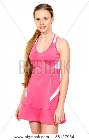 Portrait of a girl tennis player in sportswear. Studio shot. Isolated over white. Professional sports, tennis.