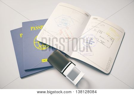 Passport with traveling stamp on grey background. Topview. Travel concept 3D Rendering