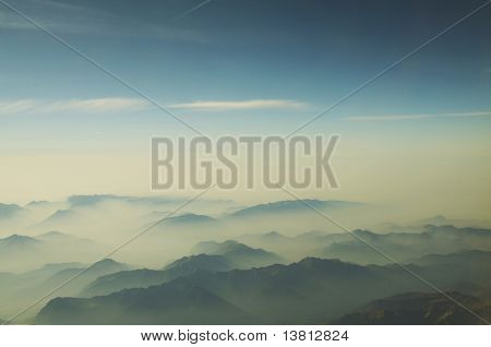 Blue mountain silhouette in Alp