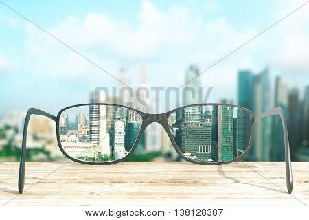 cityscape focused in glasses lenses. 3D Rendering