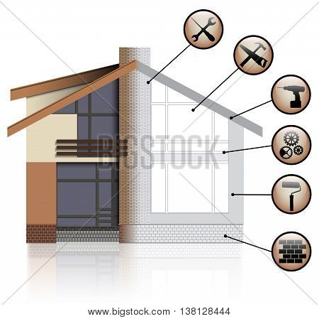 House Before and After Repair. Vector Illustration.