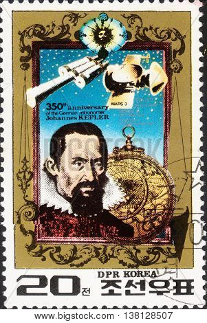 MOSCOW RUSSIA - DECEMBER 2015: a post stamp printed in NORTH KOREA shows a portrait of J. Kepler devoted to the 350th Anniversary of the Death of J. Kepler (1571-1630) circa 1980