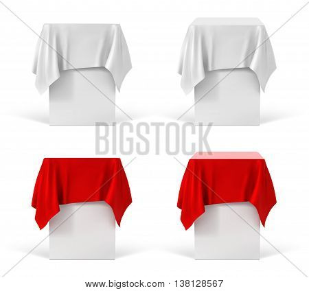 Set of pedestals isolated on a white background. Vector illustration