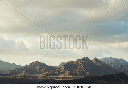 African landscape-rock mountain in desert
